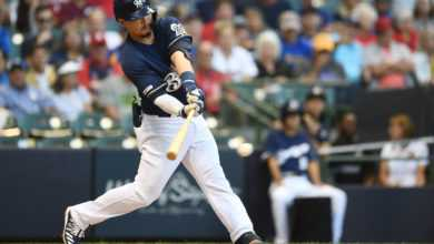 Keston Hiura of the Milwaukee Brewers swings at a pitch during the second inning against the St. Louis Cardinals at Miller Park on August 27, 2019 in Milwaukee, Wisconsin. (Photo by Stacy Revere/Getty Images)
