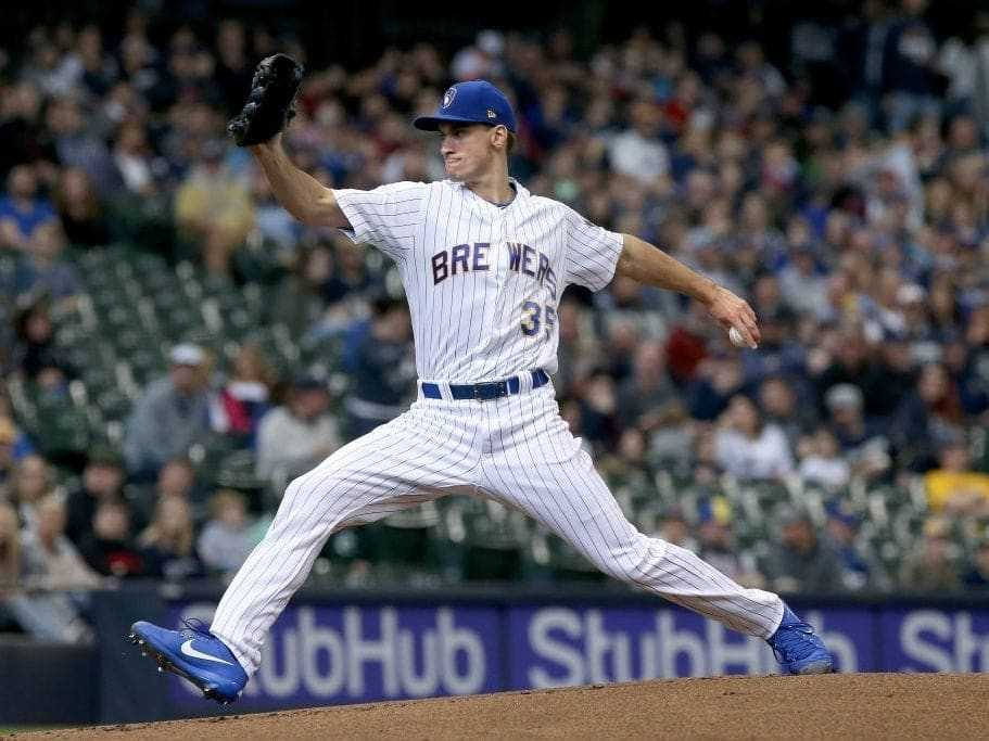 Brent Suter delivers a pitch. (Photo by Dylan Buell/Getty Images)
